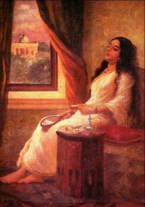 419px-Ravi_Varma-Woman_in_thought
